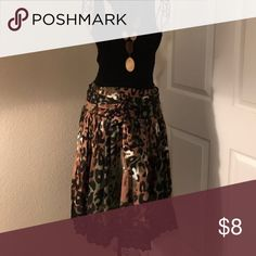 Skirt Mix Nauveau Skirt - Leopard Print Skirt with elastic waist band in the back, lace hem, Belt & pleated front waist, exclusive lining Mix Nouveau  Skirts Midi