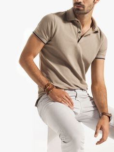 mens t-shirts at target Polo Shirt Outfits, Polo Outfit, Summer Outfits Men, Casual Outfits, Business Casual Men, Men Casual, Sports Polo Shirts, White Pants Outfit, Polo Shirt Design