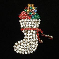 Christmas Stocking Pin Rhinestones Xmas Brooch