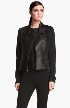 St. John Collection Leather & Milano Knit Moto Jacket available at #Nordstrom