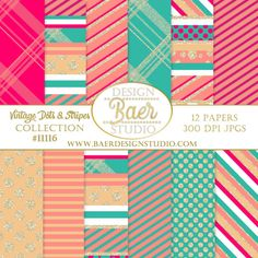 Christmas Digital Paper, Glitter Digital Paper- inspired by vintage Christmas ornaments. These dotted and striped papers are sprinkled with glitter and whimsy. Instant download digital scrapbook paper.