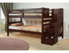 Mission Stair Step Bunk Bed by Donco w Free Under-Bed Drawers or Trundle - Bunk Beds With Stairs - Bunk Beds - Bunks & Beds - I like the clean look of this. Bunk Beds With Storage, Bunk Bed With Trundle, Cool Bunk Beds, Kids Bunk Beds, Bed Storage, Extra Storage, Wood Bunk Bed With Stairs, Staircase Bunk Bed, Interiors
