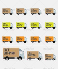 Flat Styled Delivery Truck Icons  #GraphicRiver         Flat Style Delivery trucks (512px x 512px). Items available in full vector and PNG format. Ideal for websites or any type of application. Vectors and text are fully editable. Font used: Bebas Neue.     Created: 10October13 GraphicsFilesIncluded: TransparentPNG #VectorEPS #AIIllustrator Layered: Yes MinimumAdobeCSVersion: CS3 Tags: box #clean #delivery #e-commerce #flat-styled #free #home #modern #shipping #trucks #vector