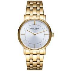 Γυναικείο ρολόι Pierre Cardin από επιχρυσωμένο ανοξείδωτο ατσάλι με ασημί καντράν και μπρασελέ. Pierre Cardin, Gold Watch, Watches, Accessories, Jewelry, Jewlery, Wristwatches, Jewerly, Schmuck