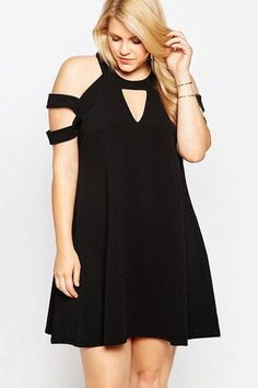 This black plus size cold shoulder swing dress from the wholesale plus clothing collection. Not only is the length suitable for daytime errands, the cold shoulder cutouts let you flash a hint of skin for nighttime adventures. Plus Size Short Dresses, Plus Size Outfits, Curvy Fashion, Plus Size Fashion, Fashion Women, Fashion Online, Latest Fashion, Fashion Ideas, Women's Fashion