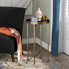 Mistana Tiara End Table Color: Black Metal End Tables, End Tables With Storage, Console, Tray Styling, Etagere Bookcase, Ladder Bookcase, Barrel Chair, Beige Area Rugs, Living Room Furniture