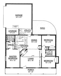 Home Plans HOMEPW03588 - 1,191 Square Feet, 3 Bedroom 2 Bathroom Farmhouse Home with 2 Garage Bays