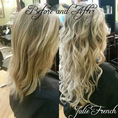 Before and After Beaded Hair Extensions