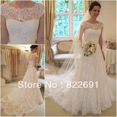 New Arrival Glamorous Full High Quality Lace Appliqued Bateau Neck Cap Sleeves A-line Wedding Dresses Bridal Gowns WD1 $199.00
