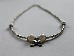 Handmade Pearl Bead Necklace with Cute Tibetan Silver Bow Charm