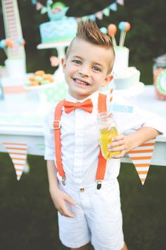 Orange Polka Dot Bow Tie & Suspenders Set for birthday party wedding ring bearer or junior groomsmen - tangerine birthday party theme