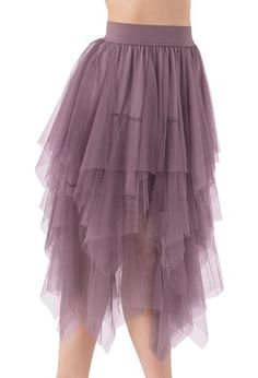 Layers and layers of soft mesh tulle make up this voluminous, flowing dance skirt.