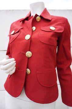 Veste Jacket Courte Vintage VTG 70 Bordeaux RETRO Taille 36 hIPPy TwiGGy