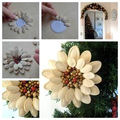 Pumpkin-Seed-Flower-Christmas-Ornament-WONDERFUL DIY F