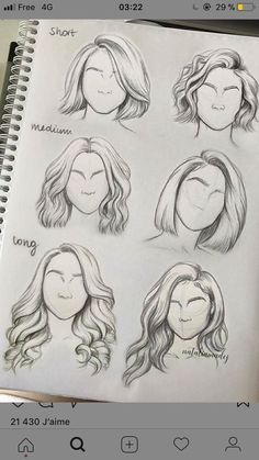 My hair is the second one in medium when it's medium and the second one in ling when it's long - pencil-drawings Pencil Art Drawings, Art Drawings Sketches, Easy Drawings, Amazing Drawings, Hair Sketch, Drawing Techniques, Drawing Tips, Drawing Ideas, Hair Styles Drawing
