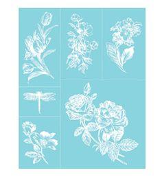 Martha Stewart Crafts Adhesive Silkscreens 4 BIRDS /& 2 Branches Designs