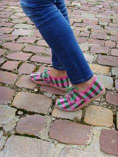 espadrilles Slowers woman fuchsia squares