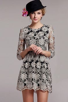 Cropped Sleeve Embroidered Lace Dress