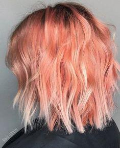 Blorange Hair Color Ideas - Red Orange Hair Color Trend for 2017 . Peach Hair Colors, New Hair Colors, Pastel Orange Hair, Pink Peach Hair, Orange Pink, Pink Grey, Grey Ombre, Bright Hair, Short Pastel Hair
