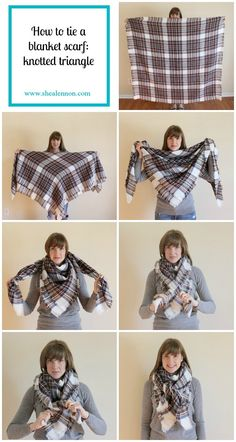 1000 Ideas About Square Scarf Tying On Square by Shea Lennon How To Tie A Blanket Scarf 2 Ways How To Wear A Blanket Scarf, Ways To Wear A Scarf, How To Wear Scarves, Scarf Tying Blanket, Square Scarf How To Wear A, Tie A Scarf, Blanket Scarf Outfit, Scarf Top, Square Scarf Tying