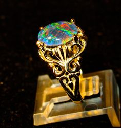 Large 14K Gold OR Solid Sterling Silver Natural Opal ring.Genuine Australian Opal Triplet.Top Grade Large 10X8 Opal Engagement filigree ring