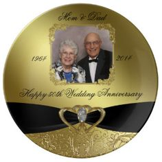 """A Digitalbcon Images Design featuring a Black Satin Ribbon and Gold Glitter Flourish Frame theme with a variety of custom images, shapes, patterns, styles and fonts in this one-of-a-kind """"Golden Wedding Anniversary"""" Photo Porcelain Plate. This elegant and attractive design comes with customizable Photo image and text lettering on the front and is sure to create years of enjoyment in viewing all your memorable photos on your special Golden Wedding Anniversary. THIS DESIGN IS ALSO AVAILABLE IN…"""