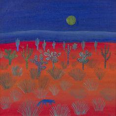 Saara Tikka: Aavikkokettu, 1976, öljy, 30x30 cm - Hagelstam A134