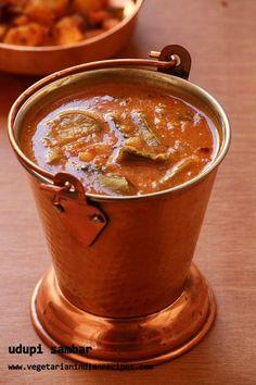 udupi sambar - tasty sambar recipe for idli, dosa, rice Veg Recipes, Indian Food Recipes, Vegetarian Recipes, Cooking Recipes, Vegetarian Curry, Recipies, Delicious Recipes, Curry Recipes, Kitchen Recipes