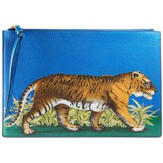 Gucci Tiger Print Leather Pouch ($750) ❤ liked on Polyvore featuring bags, handbags, clutches, blue, gucci pochette, gucci clutches, leather pouch, blue leather purse and gucci