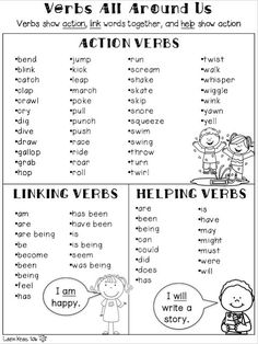 Understanding verbs will help students become more proficient with their grammar skills. These engaging activities will enable students to practice identifying action verbs, linking verbs, and helping verbs in a meaningful way. Teaching Verbs, Teaching Writing, Teaching English, Teaching Ethics, Grammar Skills, Grammar Lessons, Grammar Rules, Verbs For Kids, Verbs List