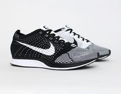 #Nike #Flyknit Racer White Black #Running #Sneakers