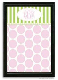 Pink Dot And Green Stripe Magnetic Bulletin Board