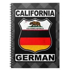 #California German American Notepad #Notebooks, available to purchase at #Zazzle.com, items can be customized with your own text #germanamerican #germany #deutschland