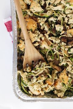 Chicken Tetrazzini with Spiralized Zucchini Noodles -- Easy to tweak recipe, add different veggies, pine nuts, sun dried tomatoes, and/or cheese if you are eating primal.  Yum! .  #paleo #primal