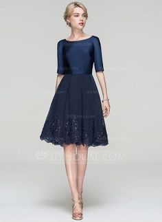 A-Line/Princess Scoop Neck Knee-Length Sequins Zipper Up Sleeves Sleeves No Dark Navy Spring Summer Fall General Plus Tulle Cocktail Dress Grad Dresses, Event Dresses, Trendy Dresses, Cheap Dresses, Casual Dresses, Fashion Dresses, Bridesmaid Dresses, Party Dresses, Wedding Dresses