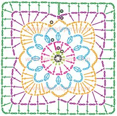 Crochet Granny Square Cuadrado fácil de tejer a crochet (granny square)! very pretty - made up in plain white yarn flower inside square Crochet Motif Patterns, Crochet Symbols, Granny Square Crochet Pattern, Crochet Blocks, Crochet Diagram, Crochet Chart, Crochet Squares, Knitting Patterns, Crochet Diy