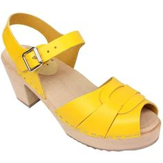 5203a70b1d43b6 Lotta From Stockholm   Womens High Heel Peep Toe Wooden Clogs in Summer  Yellow Leather. GBP + shipping in Europe GBP
