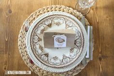 Lemonade Makin' Mama: paper bag placecards with turkey tags