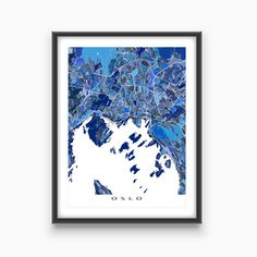 Oslo Map Art Oslo Norway Europe City Street Print by MapsAsArt