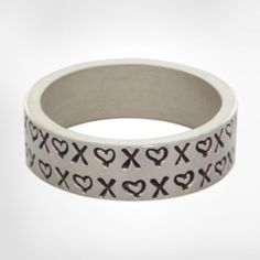 Silver 6mm Standard Ring - Stamped with Mini Hearts and X's - Available in Multiple Ring Sizes