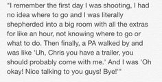 Chris' first day on set