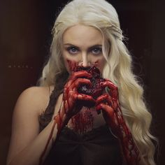 NEW TUTORIAL IS NOW UP ON THE GLAM&GORE YOUTUBE! Some of you guessed what I was scheming! (Or you follow me on Twitter and you've known for days) Khaleesi, done glam and gore style- the gore coming from the scene where she eats a horse's heart️ Check it out whether you just want to see the beauty portion or the whole thing. I made this one longer since you guys keep asking for that :) Please subscribe if you like my videos and happy early Valentine's Day!