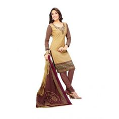 Cambric Cotton Beige Churidar Suit Dress Material - 5491933