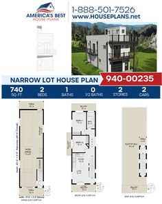 Well suited for a Narrow Lot, Plan 940-00235 details 740 sq. ft., 2 bedrooms, 1 bathroom, a kitchen island, an open floor plan, a stacked porch, and a 2 car garage. #narrowlothouse #openfloorplan #architecture #houseplans #housedesign #homedesign #homedesigns #architecturalplans #newconstruction #floorplans #dreamhome #dreamhouseplans #abhouseplans #besthouseplans #newhome #newhouse #homesweethome #buildingahome #buildahome #residentialplans #residentialhome Narrow Lot House Plans, Best House Plans, Dream House Plans, Floor Plan Drawing, Garage Apartment Plans, Stair Detail, Construction Cost, Sims 4 Houses, House Stairs
