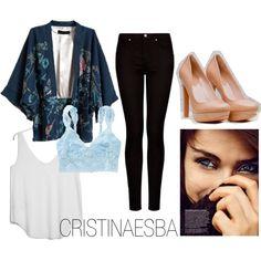 """""""kimono & lace"""" by cristinaesba on Polyvore"""