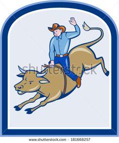 Illustration of rodeo cowboy riding bucking bull on isolated white background. #rodeo #cartoon #illustration