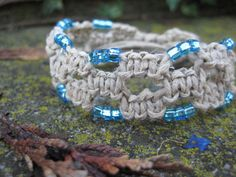Old School Macramé Bracelet in Natural and Blue by JVossDesigns,