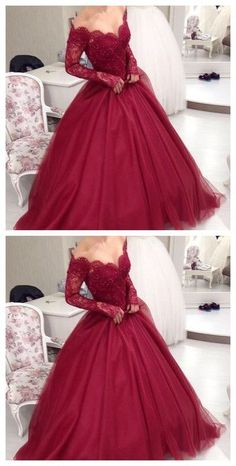 Burgundy prom dresses 2017 Ball Gowns evening dresses Sweetheart Lace Appliques