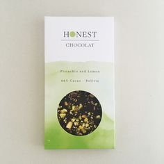 Pistachio and Lemon 66% Cacao Organic Direct Trade Chocolate Dairy Free Gluten Free Palm Oil Free Soy Free. Packaging Design by Emily Bonnaud. Honest Chocolat NZ.