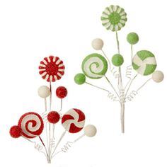 """RAZ Peppermint Candy Spray Set of 2  2 Assorted peppermint candy sprays Red, Green, White Set includes one of each Made of Styrofoam Measures 16""""  RAZ 2015 Peppermint Toy Collection This"""